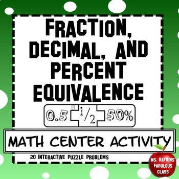 Fraction Decimal and Percent Equivalents Math Center Activity