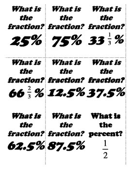 Fraction, Decimal and Percent Flashcards