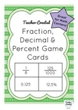 Fraction, Decimal and Percent Game Cards