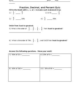 Fraction, Decimal, and Percent Quiz/Reflection/Answers