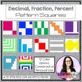 Fraction, Decimal, Percent Squares w/Patterns {TEKS 4.2G, E & F}