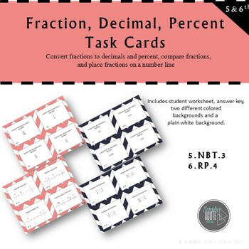 Fraction, Decimal, and Percent Task Cards