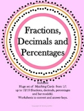 Fraction Decimal and Percent Matching Cards & Worksheets with Keys