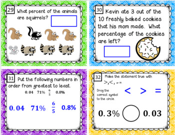 Fraction, Decimal and Percent Task Cards and More (SOL 6.2)