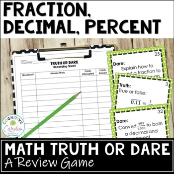 Fraction, Decimal, and Percent Truth or Dare Math Game