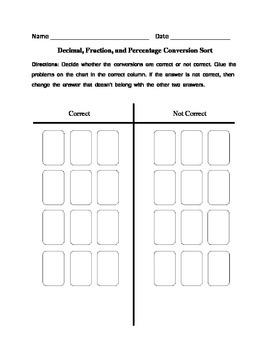 Fraction, Decimal, and Percentage Conversion Sort