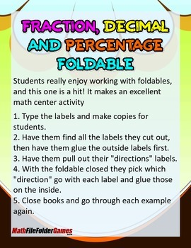 Fraction Decimal and Percentage Foldable