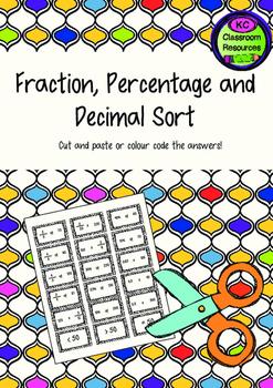 Fraction, Decimal and Percentage Sort