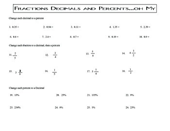 Fraction, Decimal, percent conversion