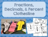 Fraction, Decimals, Percent Clothesline Activity