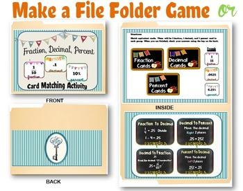 Fraction, Decimals, & Percents File Folder Game/ Interactive Notebook Activity