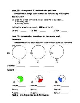 Using Percents - Fraction, Decimals, Percents and Discounts Assessment (Test)