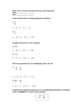 Fraction, Decimals, Percents, and Proportions Test/Quiz