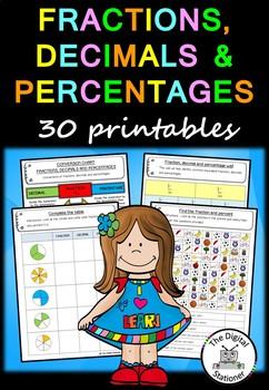Fraction, Decimals and Percentages – 30 printables