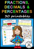 Fractions, Decimals and Percentages – 30 printables