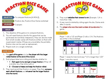 Fraction Dice Game (Comparing Fractions)