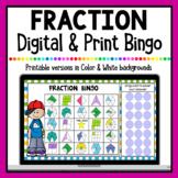 Fraction Digital Bingo | Google Classroom & Printable