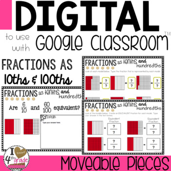 Fraction Digital Lesson to use with Google Classroom CCSS 4.NF.C.5