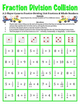 Fraction Division Collision -A Game to Divide Fractions and Whole Numbers