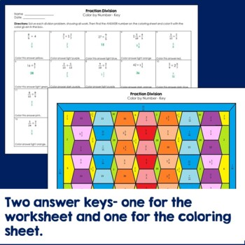 Fraction Division Color by Number