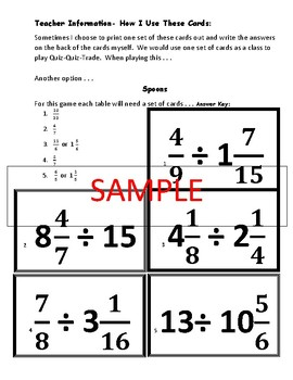 Fraction Division Cooperative Learning Game Cards Common Core