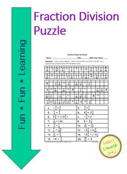 Fraction Division Fun Puzzle Worksheet with Differentiated Version