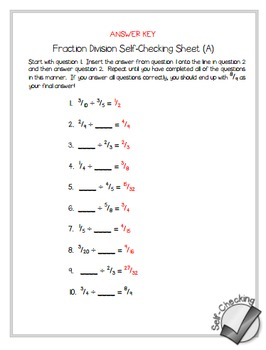 Fraction Division Self-Checking Worksheets - Differentiated