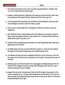 Fraction Division Story Problem Worksheet