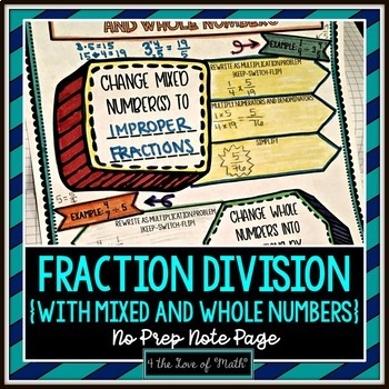 Fraction Division With Mixed and Whole Numbers No Prep Note Page