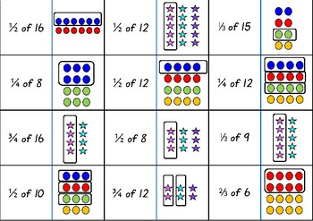 Fraction Dominoes: Fraction of a Whole & Fraction of Groups