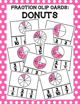 Donut Fraction Clip Cards