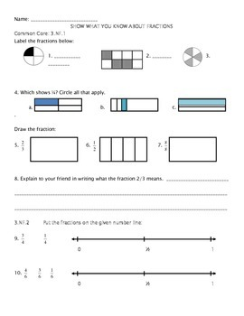 Fraction End of Unit Assessment- NF.1, 2, and 3