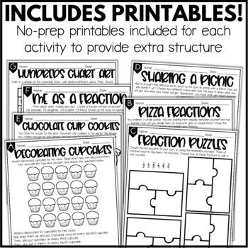 Fractions Enrichment Activities - Math Menu, Choice Board