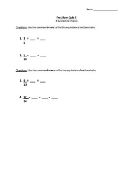Fraction Equivalence Chains Quiz