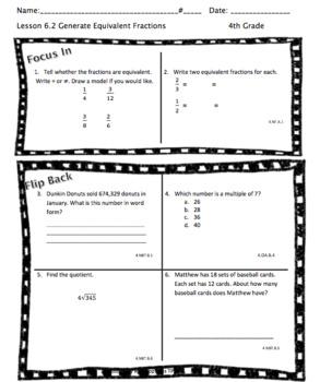 Fraction Equivalence Homework (Chapter 6)