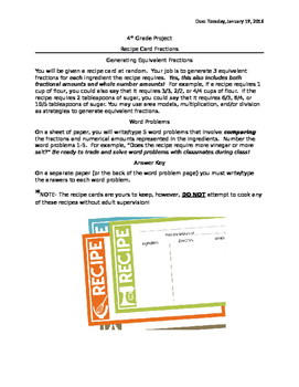 Fraction Equivalence and Comparison Recipe Card Project