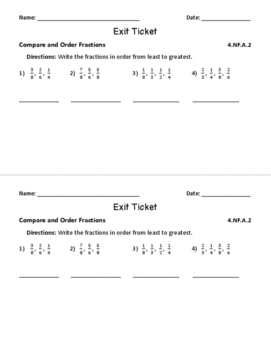 Fraction Equivalence and Comparisons for Fourth Grade: Exit Tickets & More
