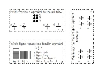 Fraction Equivalence/Fraction Order Review Cards 4.NF.A.1/4.NF.A.2