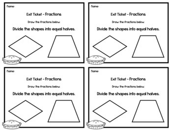 Fraction Exit Tickets - Halves, Thirds, Fourths - 2nd Grade Math