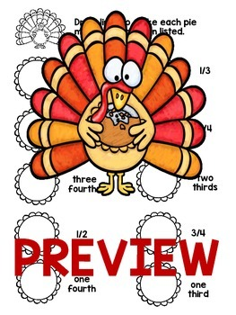 Common Core Fractions Thanksgiving Math - 1.G.3 , 2.G.3