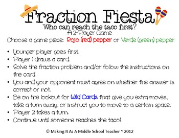 Fraction Fiesta Game {Grades 7 & 8}  Common Core Aligned