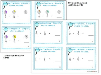 Fraction Files - Adding & Subtracting Fractions w/ like Denominators Task Cards