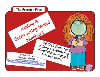 Fraction Files - Add & Subtract Mixed Numbers Task Cards