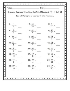 Fraction Files - Converting Improper Fractions to Mixed Numbers Task Cards