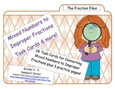 Fraction Files - Converting Mixed Numbers to Improper Fractions Task Cards