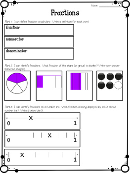 Fraction Files Craftivity/Assessment  (based on 3rd Grade CCSS)