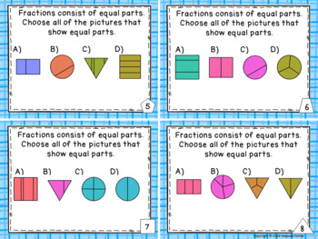 Identify Fractions - Finding Equal Parts of a Shape Task Cards