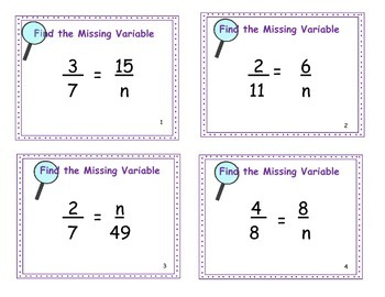Fraction Files - Solving for the Missing Variable  Fractions Task Cards