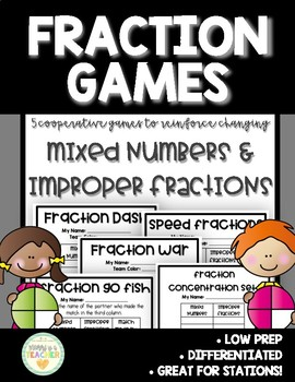 Fraction Game/Activity-Changing Mixed Numbers & Improper Fractions