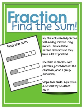 Fraction Models Adding:  reteach tutoring